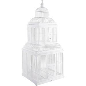 Photo ACA1090 : Cage en bambou laqué blanc