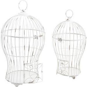 Photo ACA112S : Cages en métal blanc vieilli