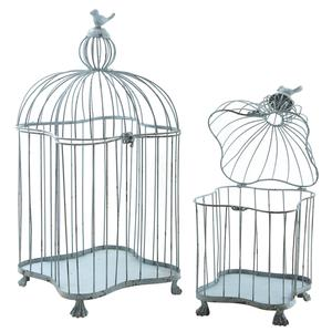 Photo ACA114S : Cages en métal bleu antique