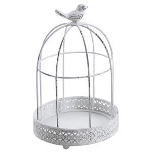 Photo ACA1180 : Cage ronde en métal blanc vieilli