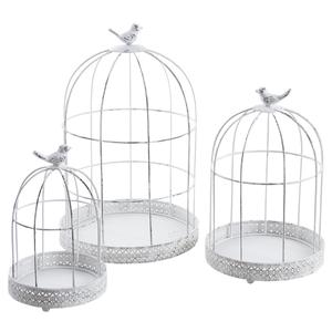 Photo ACA119S : Cages en métal blanc vieilli