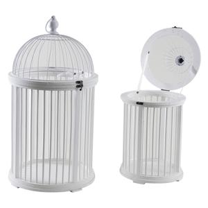 Photo ACA120S : Cages en bois et métal laqués blanc
