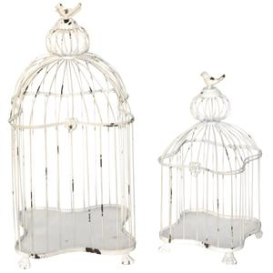 Photo ACA124S : Cages en métal laqué blanc