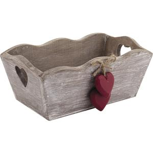 Photo CCO7000 : Wood basket with hanging hearts