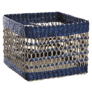 Photo CCO896S : Corbeilles carrées en jonc naturel et teinté bleu