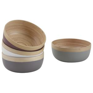 Photo CCO9030 : Round natural and laquered bamboo basket