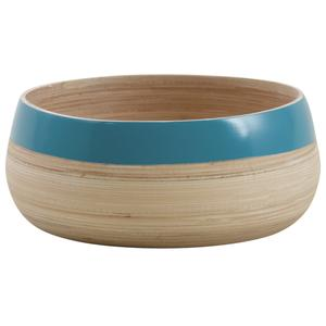 Photo CCO904S : Round natural and turquoise laquered bamboo baskets