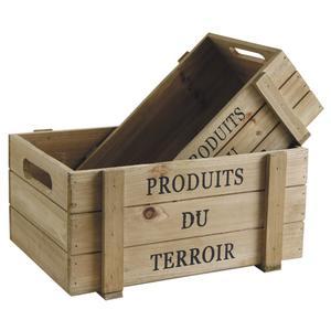 Photo CCO915S : Caisses en bois vieilli Produits du Terroir