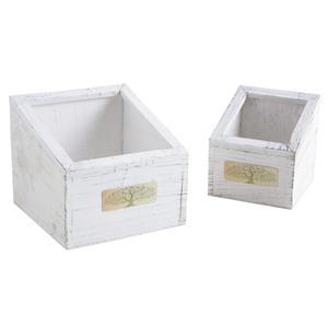 Photo CCO917SP : Corbeilles carrées en bois teinté blanc