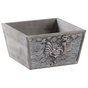 Photo CCO9280 : Square metal and wooden basket with rooster design