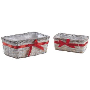 Photo CCO938SP : Rectangular reed and whitewashed willow baskets with red ribbon