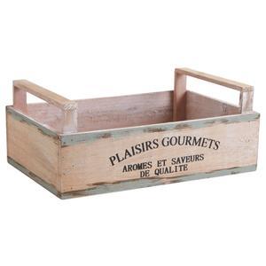 Photo CDA5740 : Corbeille en bois teinté Plaisirs Gourmets
