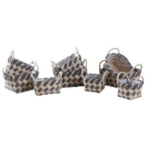 Photo CDA585SP : Whitewashed paper rope and wooden baskets
