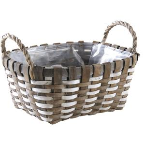 Photo CDA5860P : Oval whitewashed paper rope and wooden basket