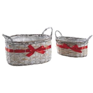 Photo CDA587SP : Oval reed and whitewashed willow baskets with red ribbon