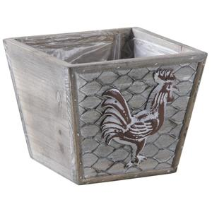 Photo CPO1560P : Square metal and wooden basket with rooster design