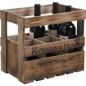 Photo CRA3610 : Caisse 6 bouteilles en bois vieilli