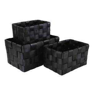 Photo CRA542S : Corbeilles de rangement en bois laqué noir