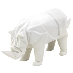 Photo DAN2580 : Rhinocéros en résine blanche