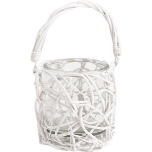 Photo DBO1650V : White lacquered willow lantern