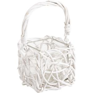 Photo DBO1660V : White lacquered willow lantern