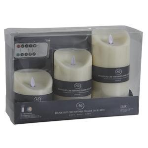 Photo DBO215S : Coffret 3 bougies à LED parfumées vanille avec télécommande