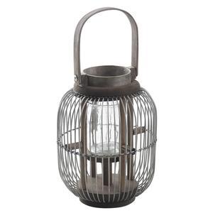 Photo DBO2220V : Lanterne ronde en métal et bois teinté