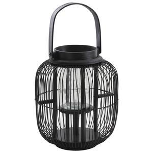 Photo DBO2240V : Lanterne noire en métal et bois laqué