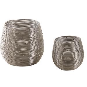 Photo DBO249S : Photophores ronds en métal argenté