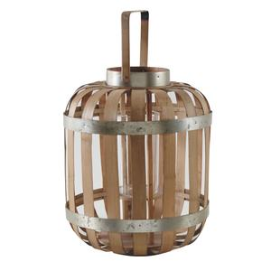 Photo DBO2610V : Natural bamboo and metal lantern
