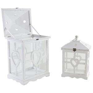 Photo DBO266SV : Whitewashed wood and glass lanterns