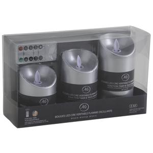 Photo DBO271S : Set of 3 silver LED candles with remote control