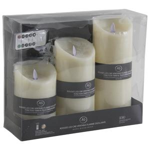 Photo DBO274S : Set of 3 vanilla LED candles with remote control