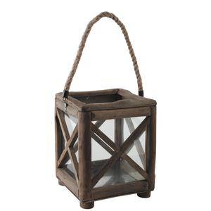 Photo DBO2751V : Square wood and glass lantern