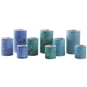 Photo DBO286S : Patinated metal candle holders
