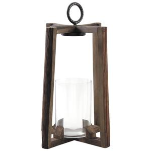 Photo DBO3010V : Trapezium glass and wooden lantern