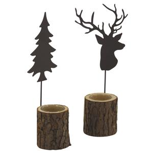 Photo DBO3020V : Glass and wooden candle holder with metal tree or deer