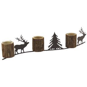 Photo DBO3030V : Photophore pour 3 bougies en bois et métal