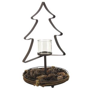 Photo DBO3040V : Rattan and metal candle holder with glass and pine cones
