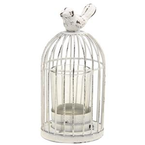 Photo DBO3070V : Vintage white lacquered metal birdcage candle holder