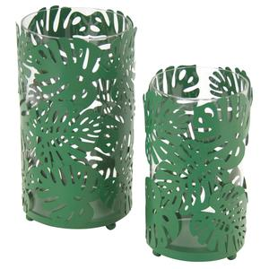 Photo DBO308SV : Glass candle holders with green metal leaves design