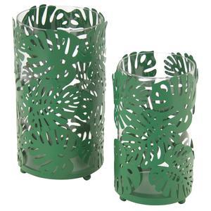 Photo DBO308SV : Photophores feuilles en métal et verre