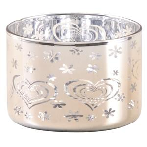 Photo DBO3130V : Gold colored glass candle holder with hearts