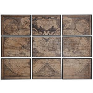 Photo DCA2330 : Mappemonde en bois 9 cadres
