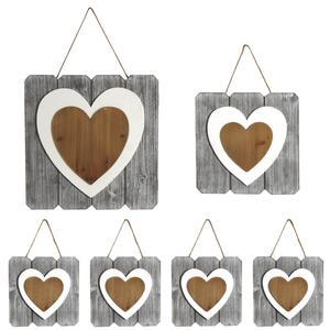 Photo DCA240S : Cadres coeurs à suspendre en bois peint