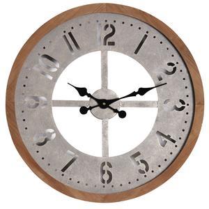 Photo DHL1460 : Horloge ronde en métal vieilli et bois