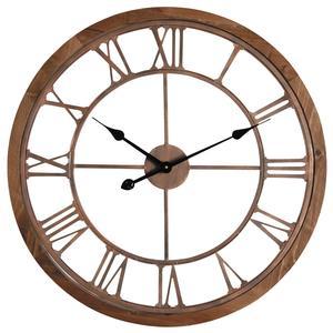 Photo DHL1470 : Horloge en métal cuivré et bois