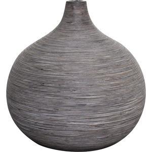 Photo DVA1281 : Vase boule en rotin gris