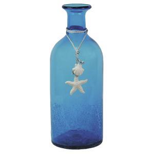 Photo DVA1480V : Vase bouteille en verre bleu