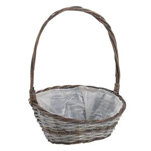Photo FCO5330P : Oval willow flower basket with handle